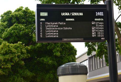 Tablica elektroniczna na przystanku MPK