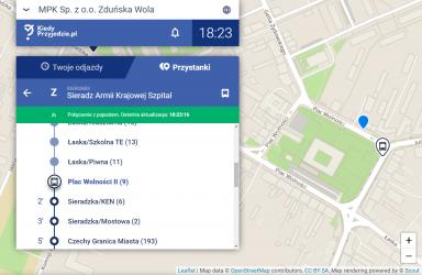 Zrzut ekranu a aplikacji kiedyprzyjedzie.pl